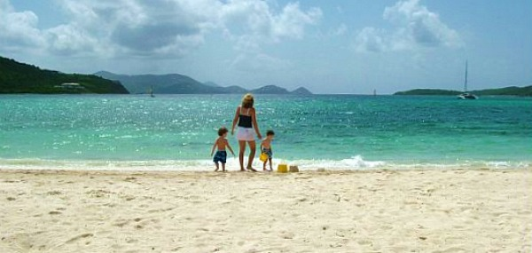 family on the beach in St. Thomas