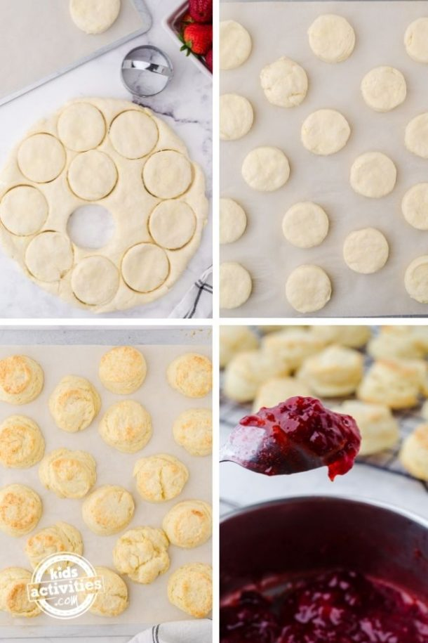 Process steps for cutting out strawberry shortcake slider tops and bottoms.