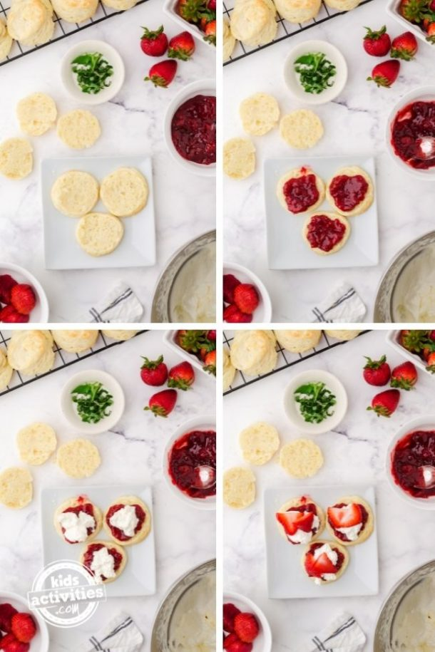 Steps for how to assemble these strawberry shortcake sliders.