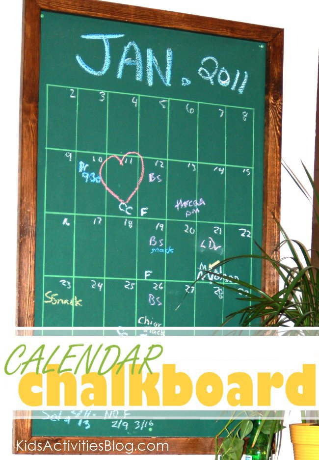 DIY calendar - made from a chalk board.