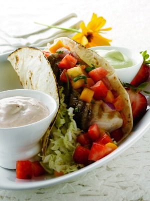mahi mahi tacos with strawberry salsa