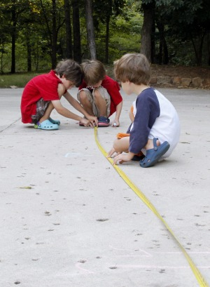 Tinker Toy Catapult measuring distance