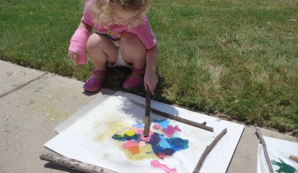 art work with stick outside