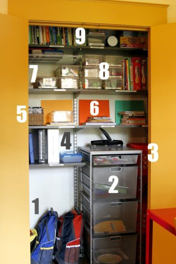 homeschool room closet organization