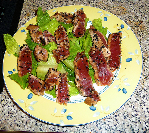 Sesame Seared Tuna Recipe on lettuce