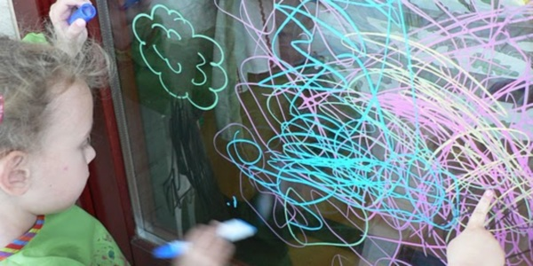 crayon window art