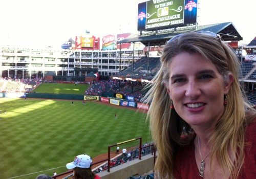 Holly at ALCS before game starts