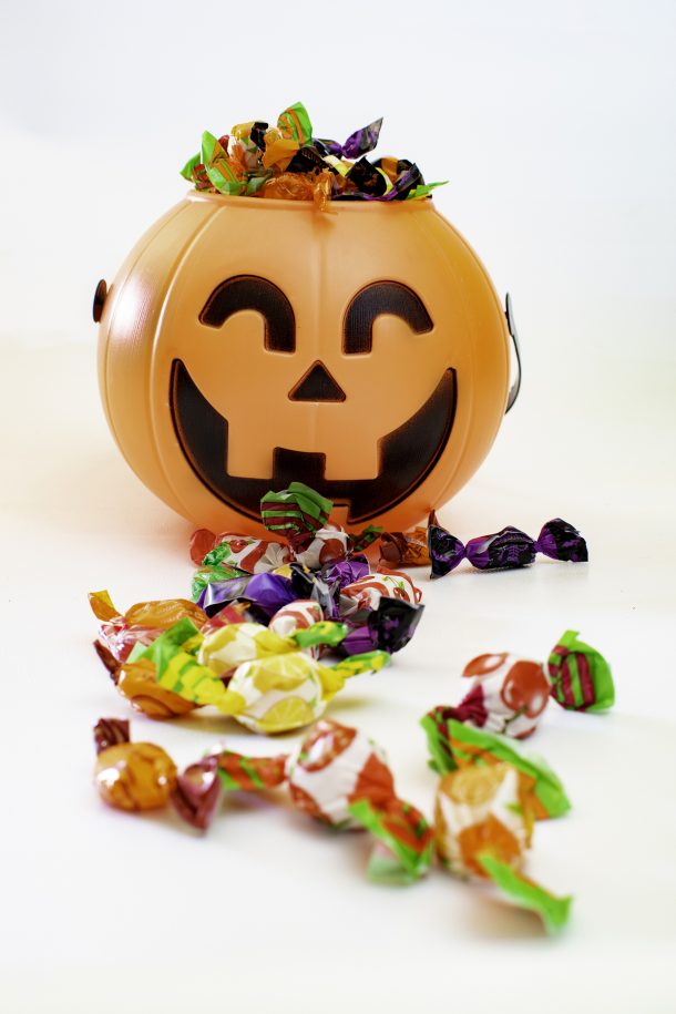 Things to do with leftover candy in a jack o lantern candy bin