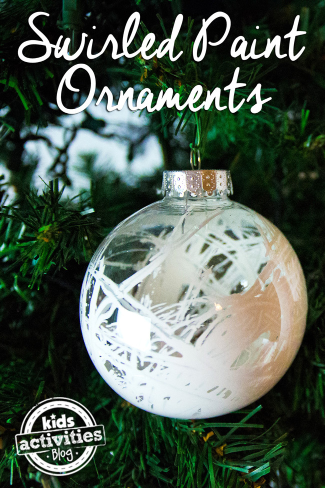 Homemade Ornaments for Kids by filling clear ornaments with white paint.