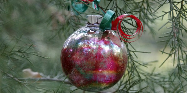 clear plastic ornaments with rainbow colors and glitter
