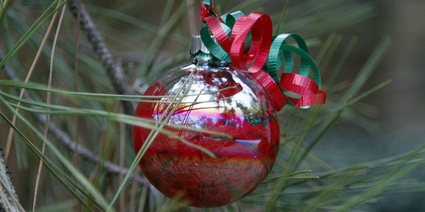 Clear plastic Christmas ornaments with red and glitter paint