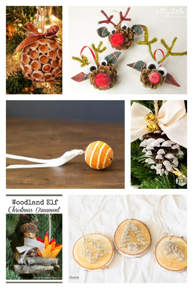 homemade ornaments like these pine cone rudolph ornaments, acorn kiss ball ornament, whole orange ornament, and wood slice ornaments, as well as the woodland elf ornament made with felt, acorns, and mini pine cones.