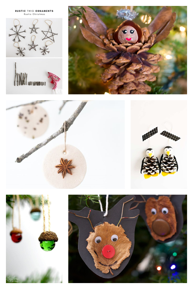 recycled ornaments made from twigs, pine cones, nuts, herbs, marbles, and leaves.