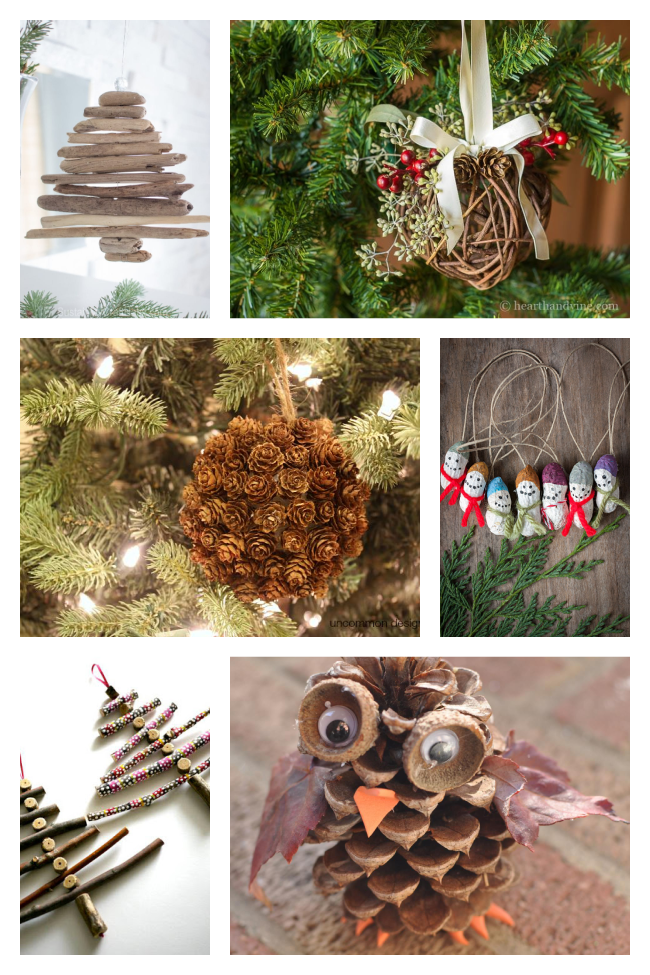 rustic ornaments made from drift wood, grape vines, peanuts, pine cones, sticks, and acorns.