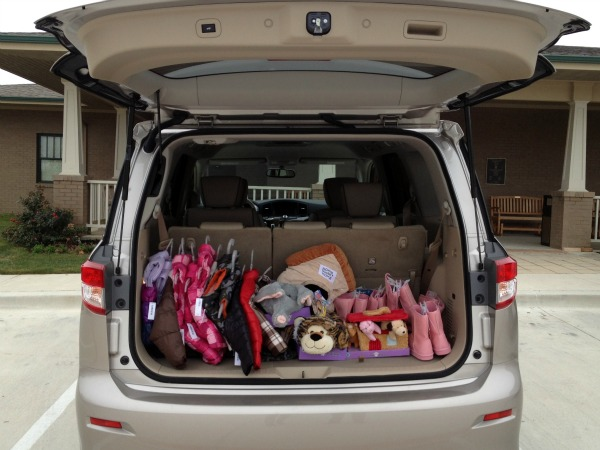 CACDC donation in back of Nissan Quest