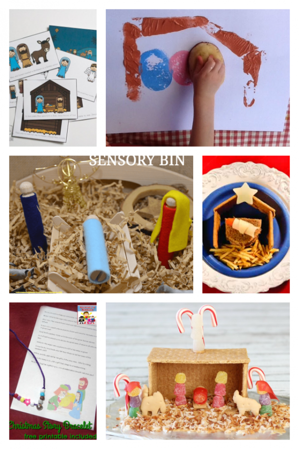 Nativity Crafts including vegetable stamping, story sequencing, a Nativity sensory bin, a Nativity graham cracker house, a lunch Nativity idea, and a Nativity poem and necklace.