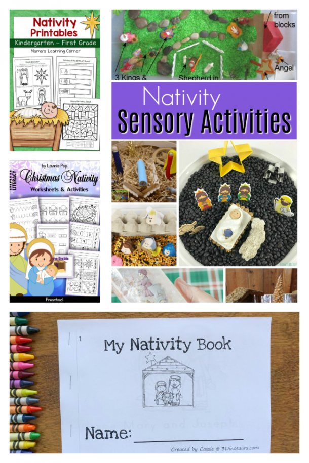 Nativity Crafts For Kids with worksheets, sensory bins, and a Nativity booklet that you can color.