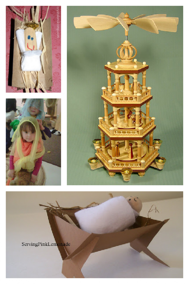 The Christmas story told by recreating Jesus in a manger, kids acting out the Nativity story, a German Christmas spinner, and a wooden Baby Jesus swaddled in a manger.
