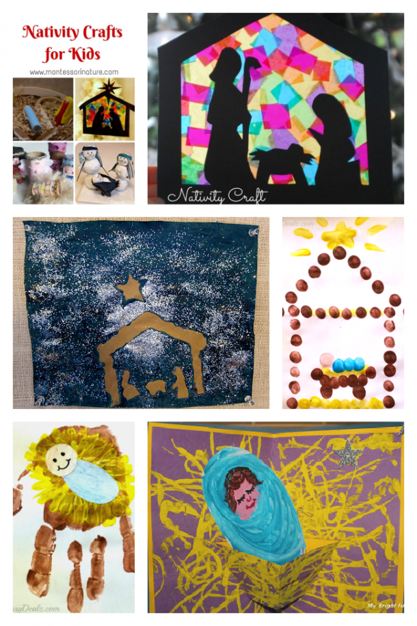 The Nativity told by making the Nativity scene with faux stained glass, glitter paintings, finger paint, hand prints, and a pop up Christmas card.