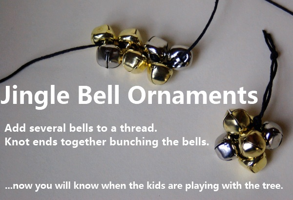 Homemade Christmas bell ornaments - jingle bell ornaments you can make with your kids - two bunches shown