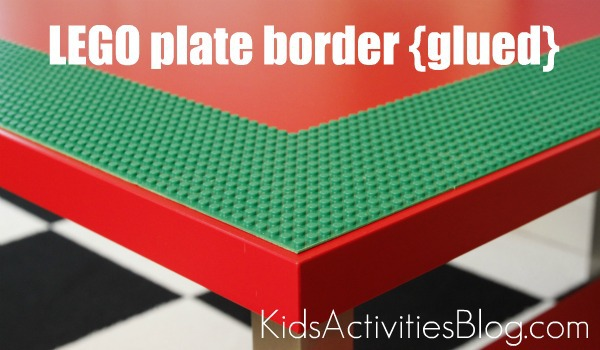 DIY LEGO table - Lego Table border of glued baseplates allowing the empty area shown in middle to be used with full sized baseplates for play