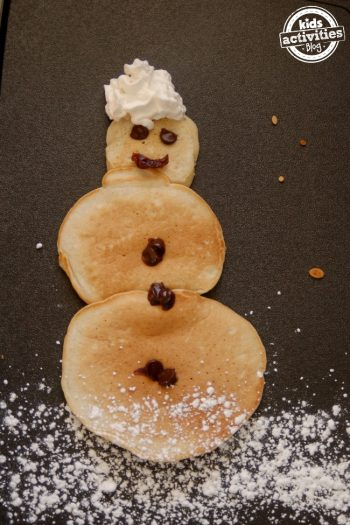 snow man pancake activity for kids