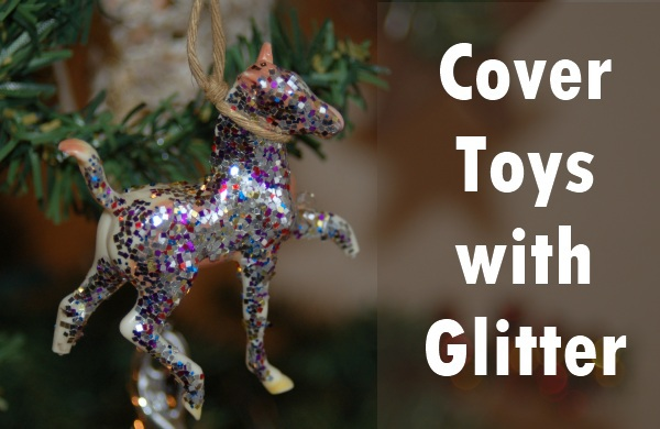 homemade toy ornaments with glitter - this is a horse hanging on a Christmas tre