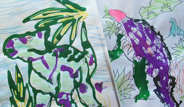 coloring activities with colored glue- green and purple dinosaurs with paint