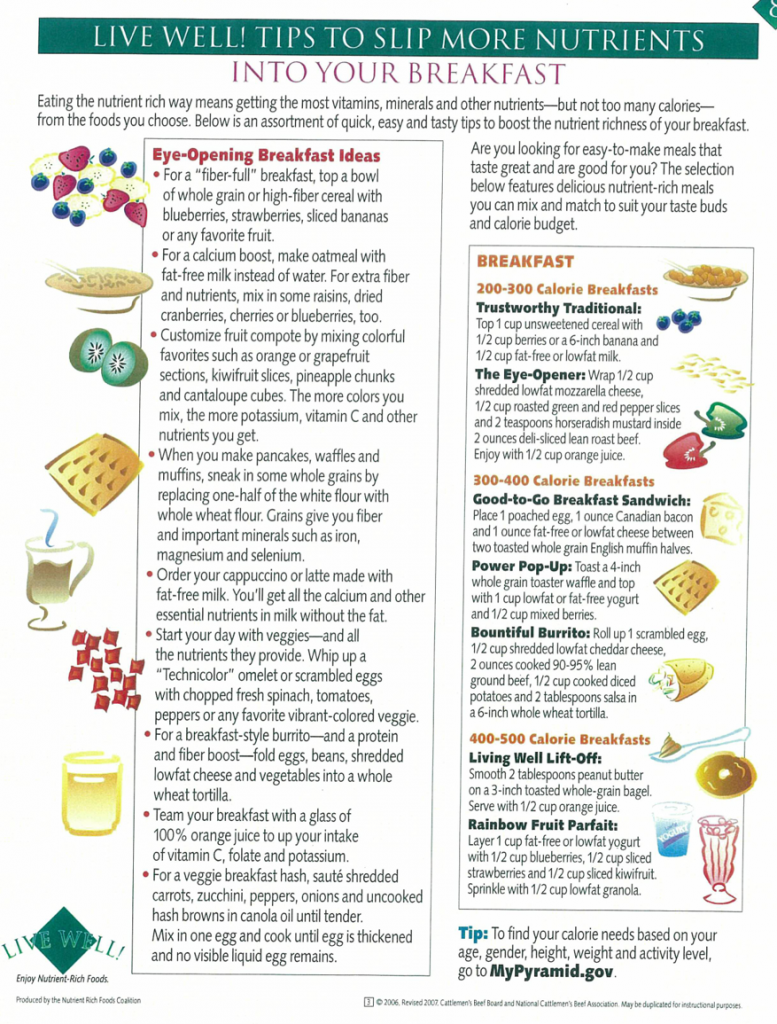 Tips for adding nutrients into breakfast