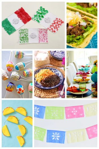 Collage of Cinco de mayo history, food recipes, arts and crafts and more