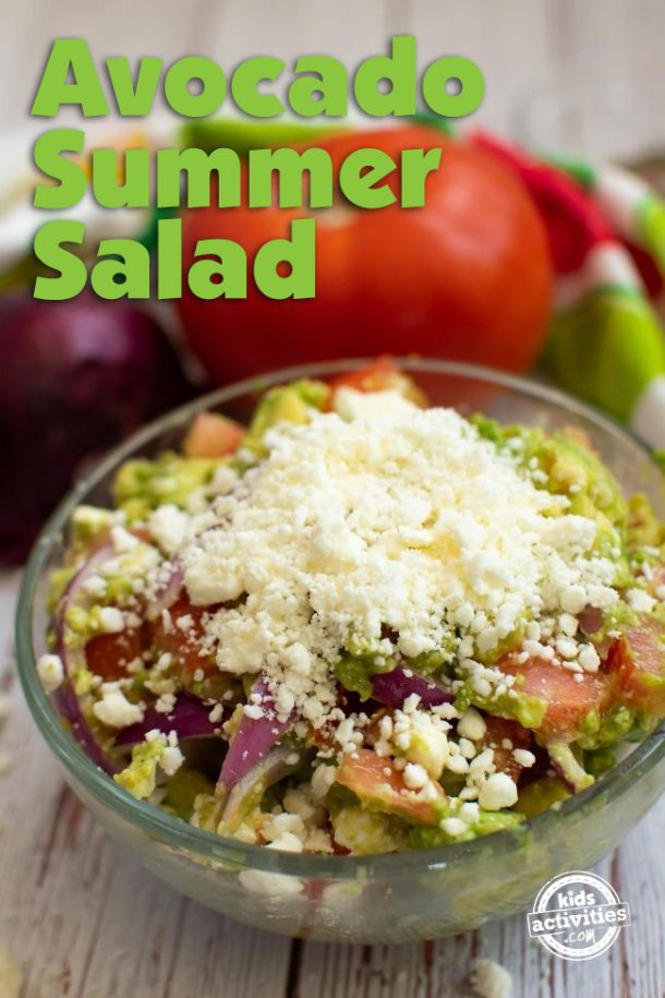 Bowl of Avocado Summer Salad with feta cheese topping