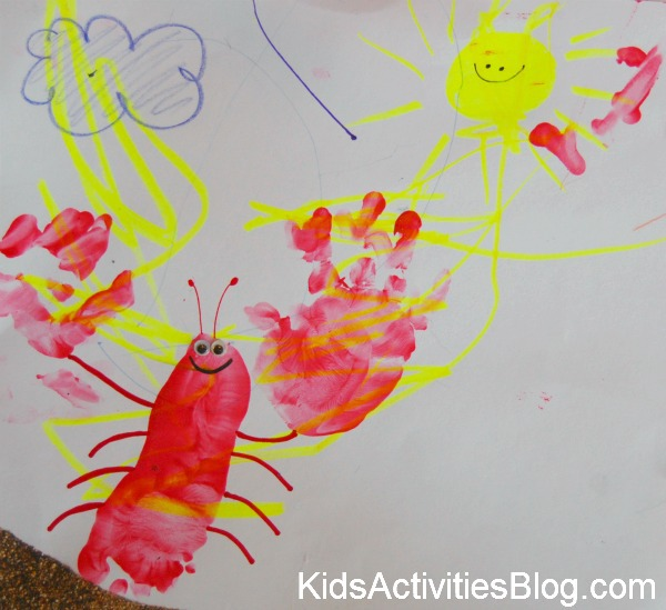 lobster print with sun drawing
