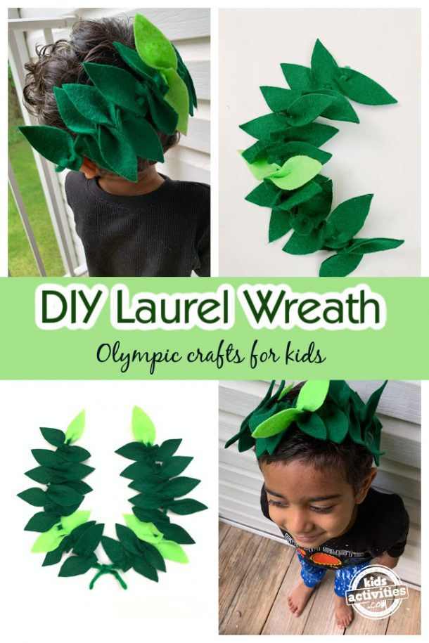 collage of DIY laureal wreath and toddler wearing the wreath as crown