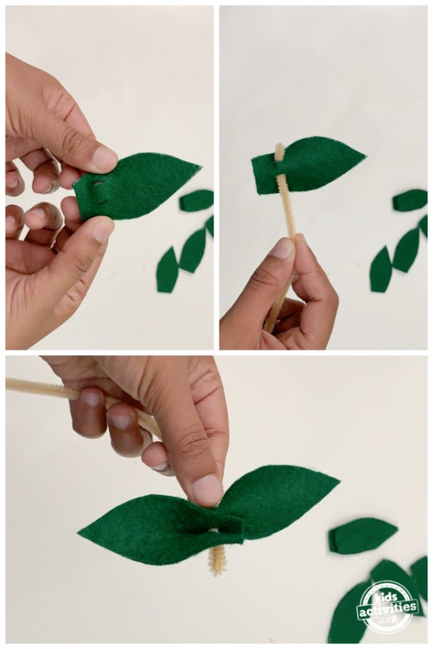 collage of closeup shots of slits and how to string them onto the pipe cleaner