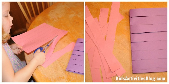 cutting strips for paper weaving