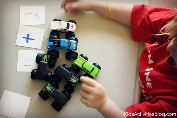 monster truck and cars smashed together for math preschool activity