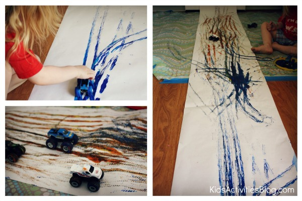 Steps to creating a monster truck painting activity at home with preschool age children using acrylic paint, white craft paper rolls and monster truck toys
