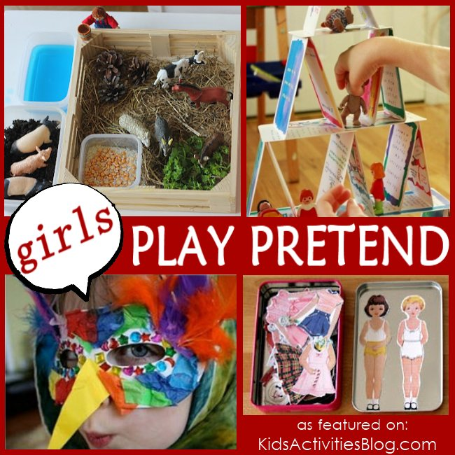Girl Games - games for girls to play pretend - shown are 4 different pretend play ideas for girls