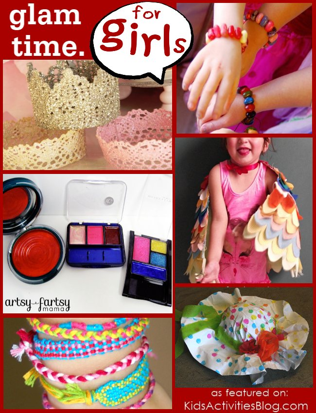 Glam time games for girls to play - girl games - 5 different glam time ideas pictured including crowns, jewelry, hats and makeup ideas for girls