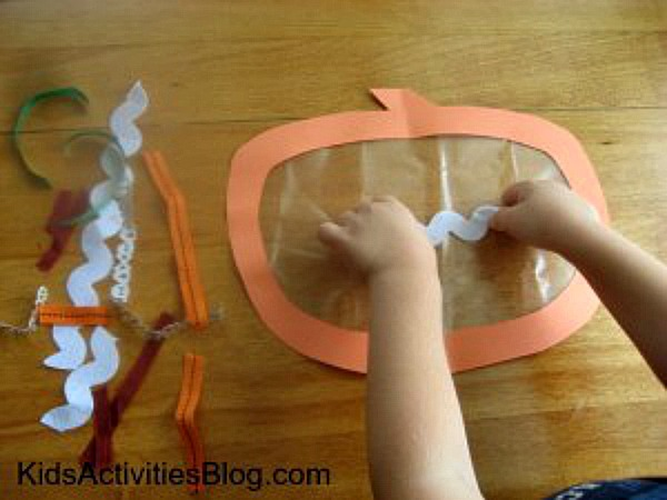 window cling is easy to make by sticking the ribbon on the plastic or tape