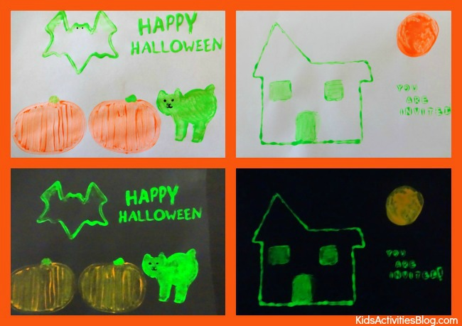 things that glow - selection of cards we made using glow in the dark paint for halloween