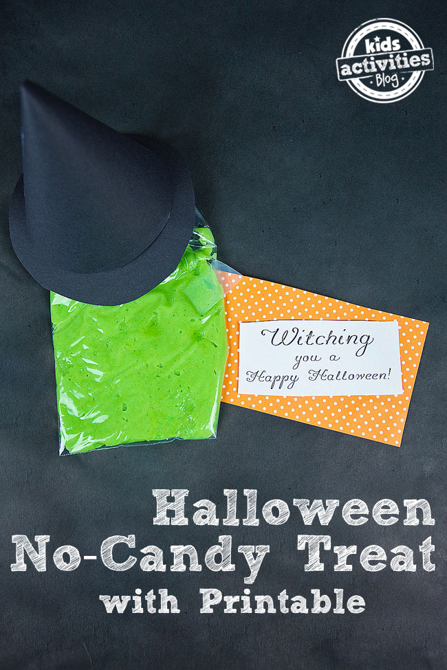Halloween No-Candy Treat Idea with orange and write printables