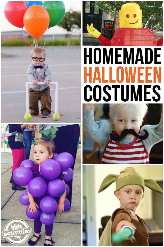 Homemade Halloween Costumes for boys! There are green grapes, super cute old man from up with pvc walker and rainbow balloons and a lego man, a strong man, and yoda with a green lightsaber.
