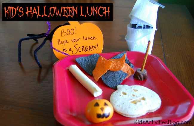 "snack food made to look like mummies, jack o lanterns, and candy brooms decorate the plate. Text says ""Kid's Halloween Lunch"". ""BOO! Hope your Lunch is a Scream!"""