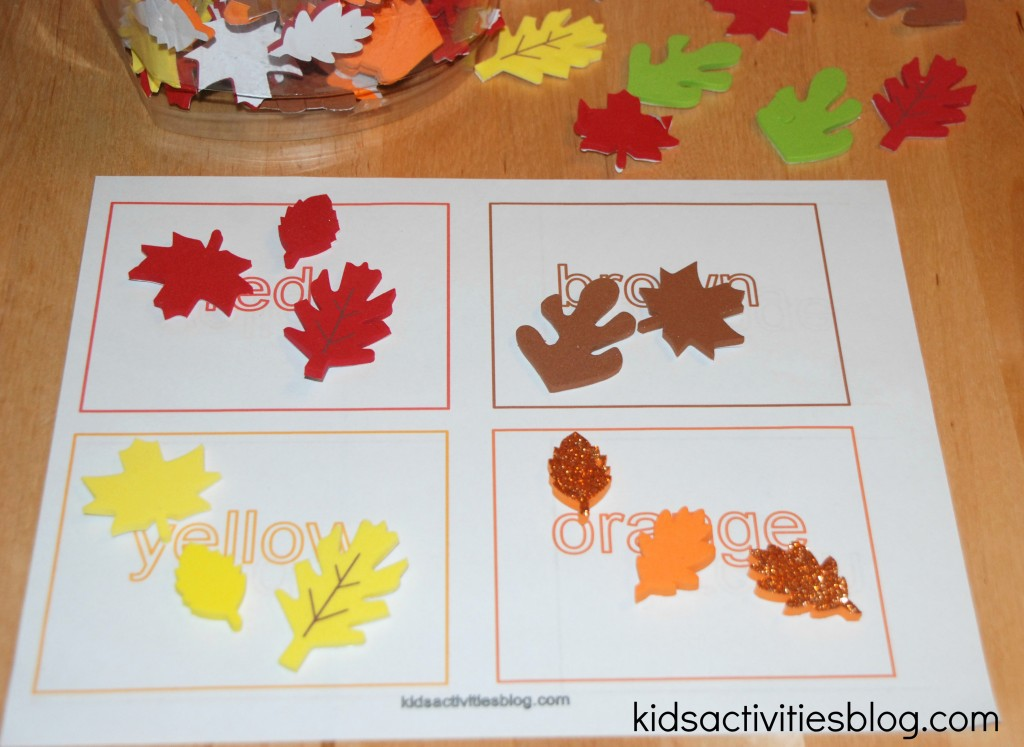 Fall Colors Color Sorting Printable