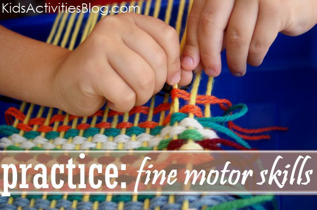 practicing pattern recognition and fine motor skills through weaving