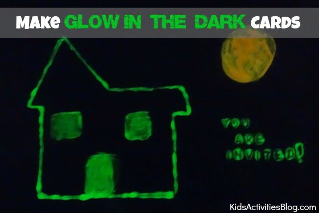 halloween activities - make glow in the dark cards - glow in the dark house shown on black paper
