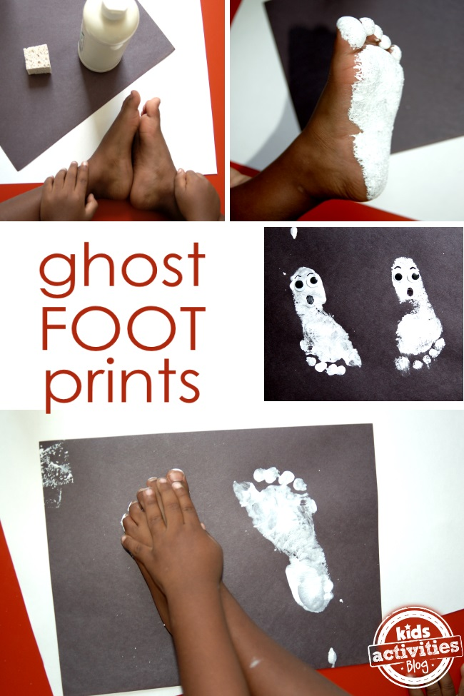 preschool art footprints make ghosts for halloween