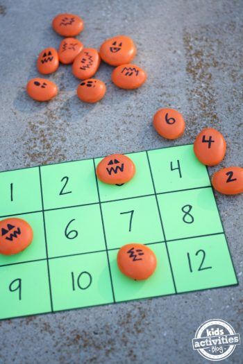 Halloween Math Activities with Painted Pumpkin Rocks
