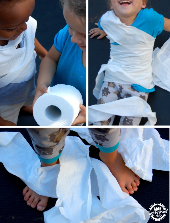 super fun preschool activity - make mummies with toilet paper wrapped around your friends